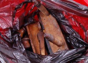 Wooden parts in plastig bag